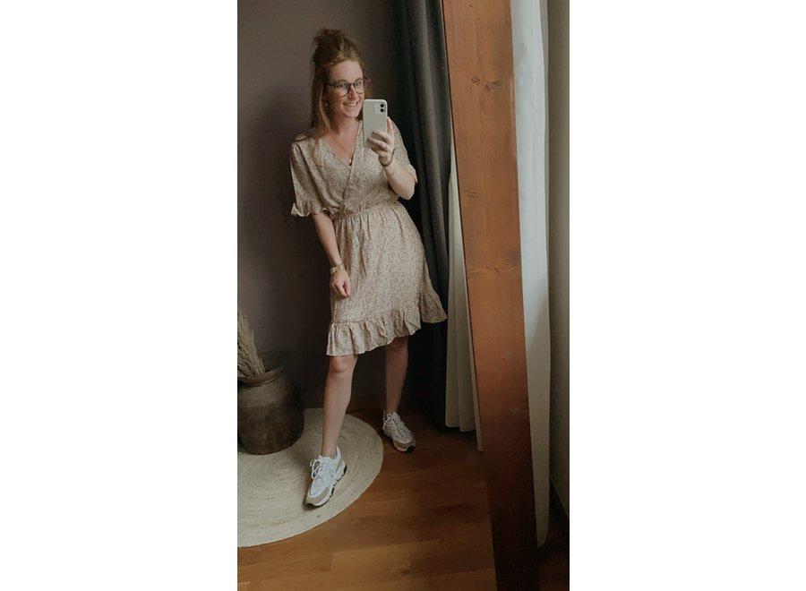 LARISSA DRESS BEIGE MET LILA