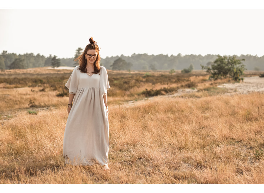 Maxi Cotton Dress Beige