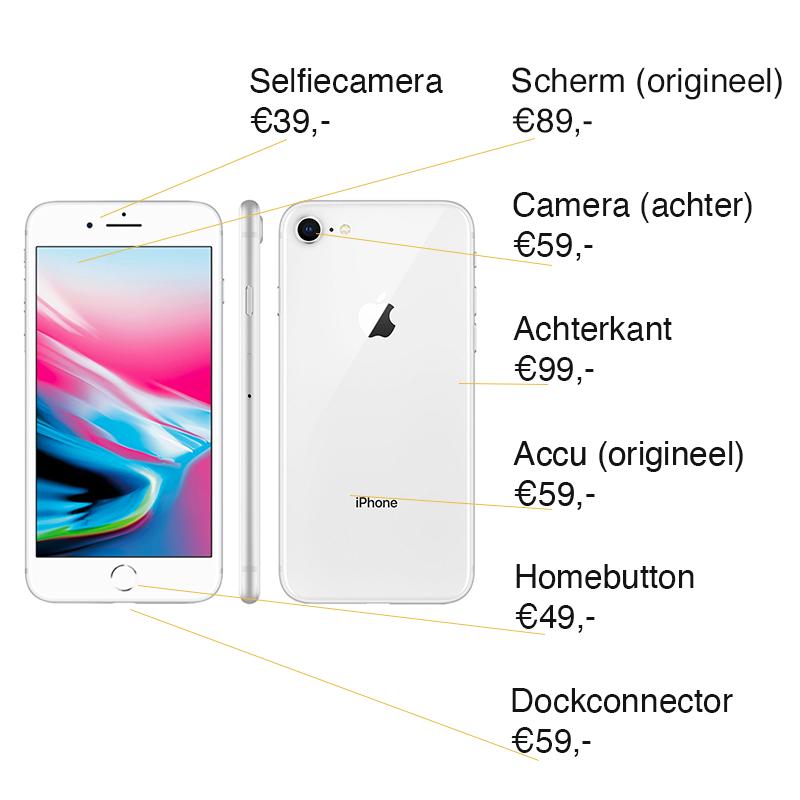 iPhone 8 reparatie prijzen Leeuwarden
