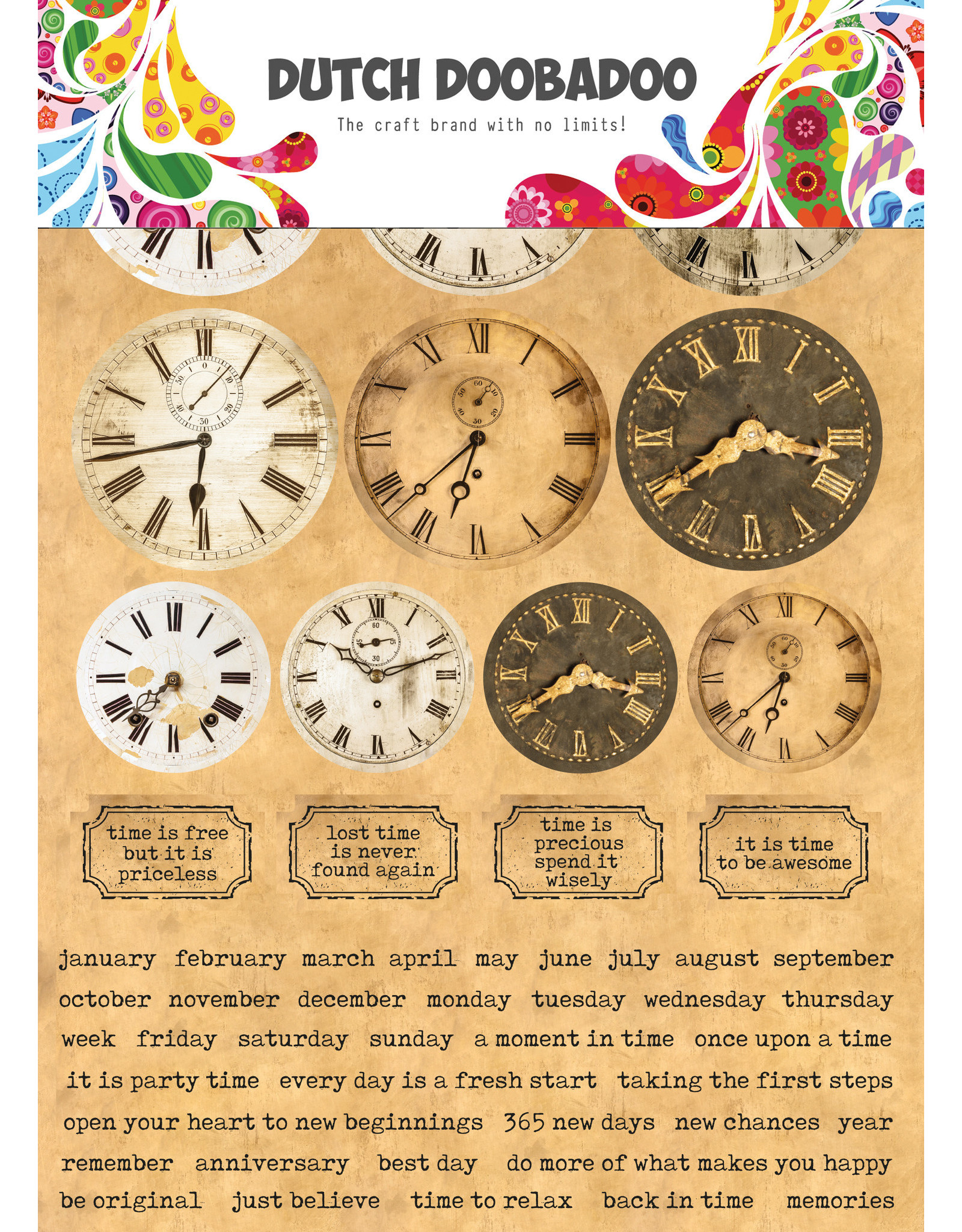 Dutch Doobadoo DDBD Dutch Sticker Art A5 Clocks