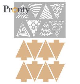 Pronty Crafts Stencil + MDF Christmas trees