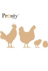 Pronty Crafts MDF chicken family 3 mm