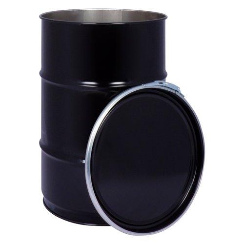 60 liter stalen klemdeksel vat - zwart