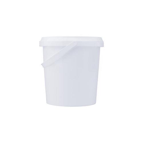 1 liter emmer met deksel - rond - wit