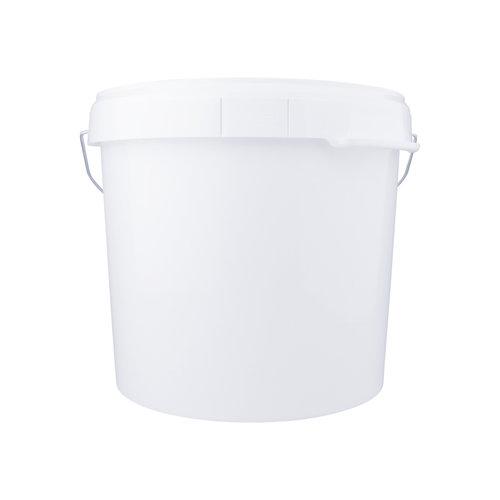 27 liter emmer met deksel - rond - wit