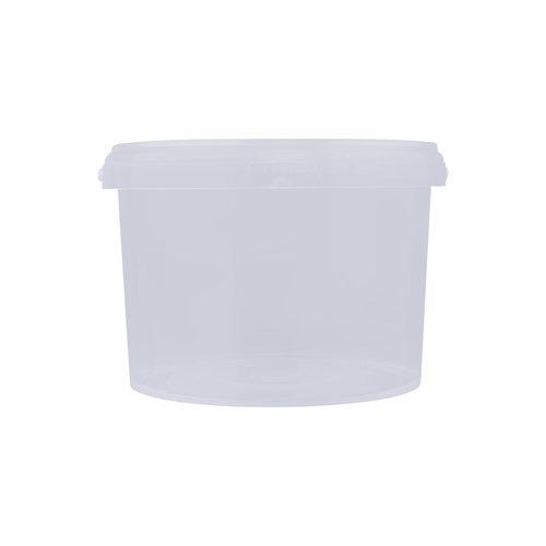 3 liter emmer met deksel - rond - transparant