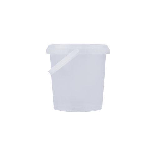 1 liter emmer met deksel - rond - transparant