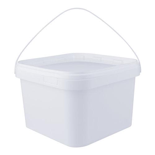 3,5 liter emmer met deksel - vierkant - wit