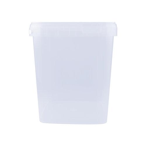 10,7 liter emmer met deksel - vierkant - transparant