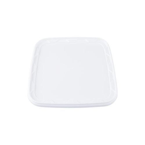10,7 liter emmer met deksel - vierkant - wit