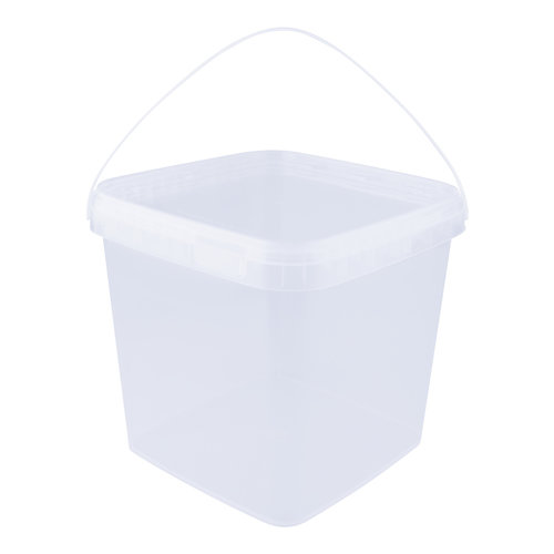 8,7 liter emmer met deksel - vierkant - transparant