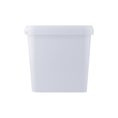 8,7 liter emmer met deksel - vierkant - wit