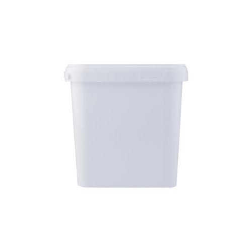 5,4 liter emmer met deksel - vierkant - wit