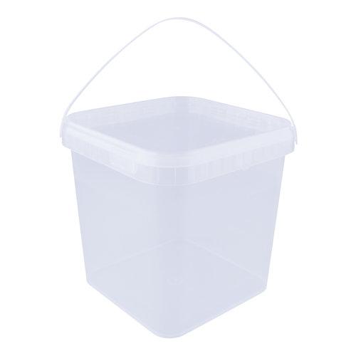 5,4 liter emmer met deksel - vierkant - transparant