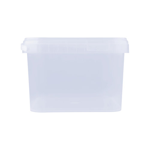 3,5 liter emmer met deksel - vierkant - transparant