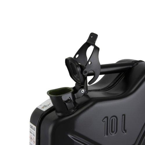 10 liter stalen brandstof jerrycan - zwart
