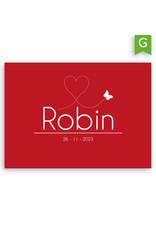 www.Robin.cards Geboortekaartje gratis enkel rechthoek ROBIN