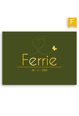www.Robin.cards Geboortekaartje foliedruk enkel rechthoek FERRIE