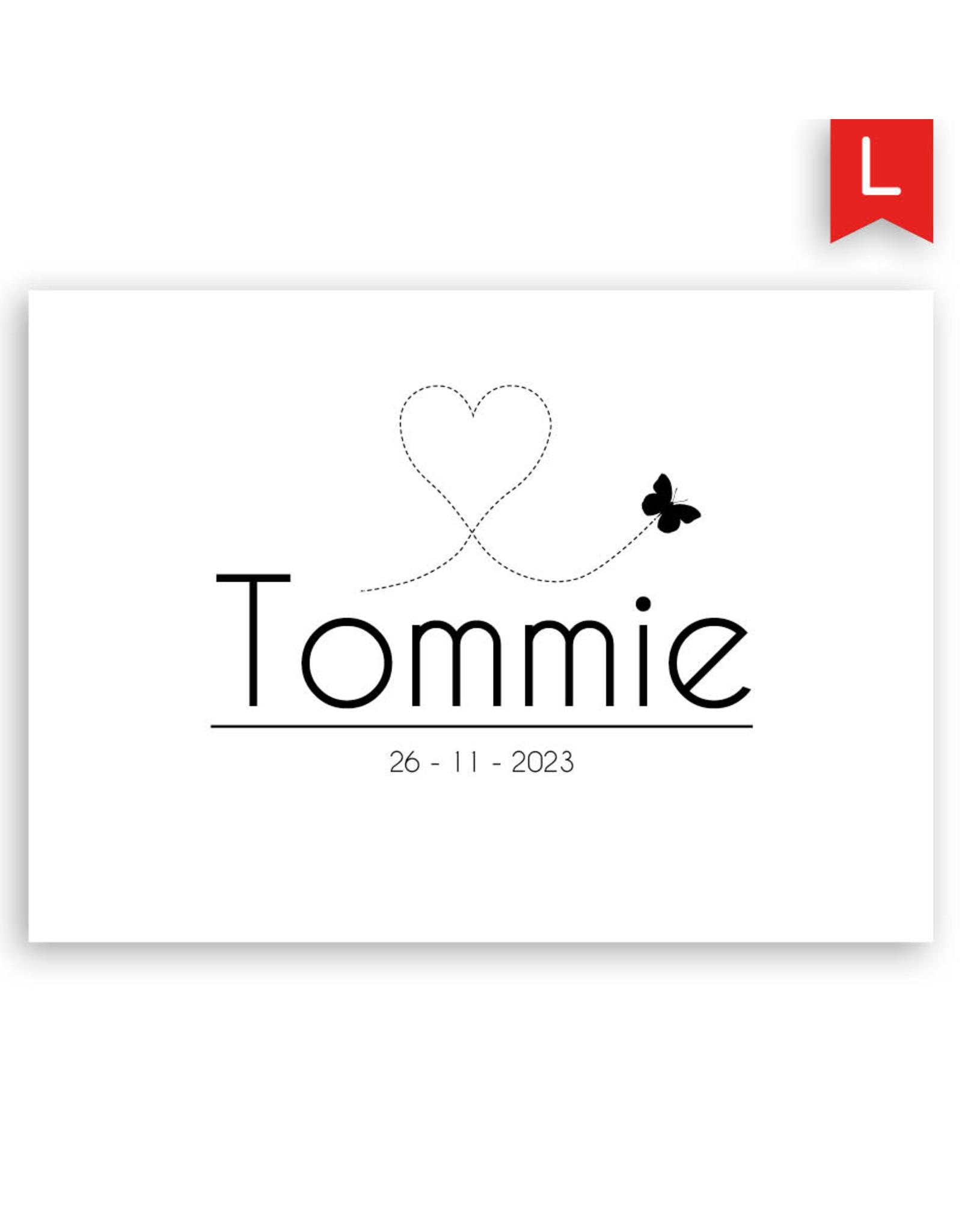 www.Robin.cards Geboortekaartje luxe enkel rechthoek TOMMIE