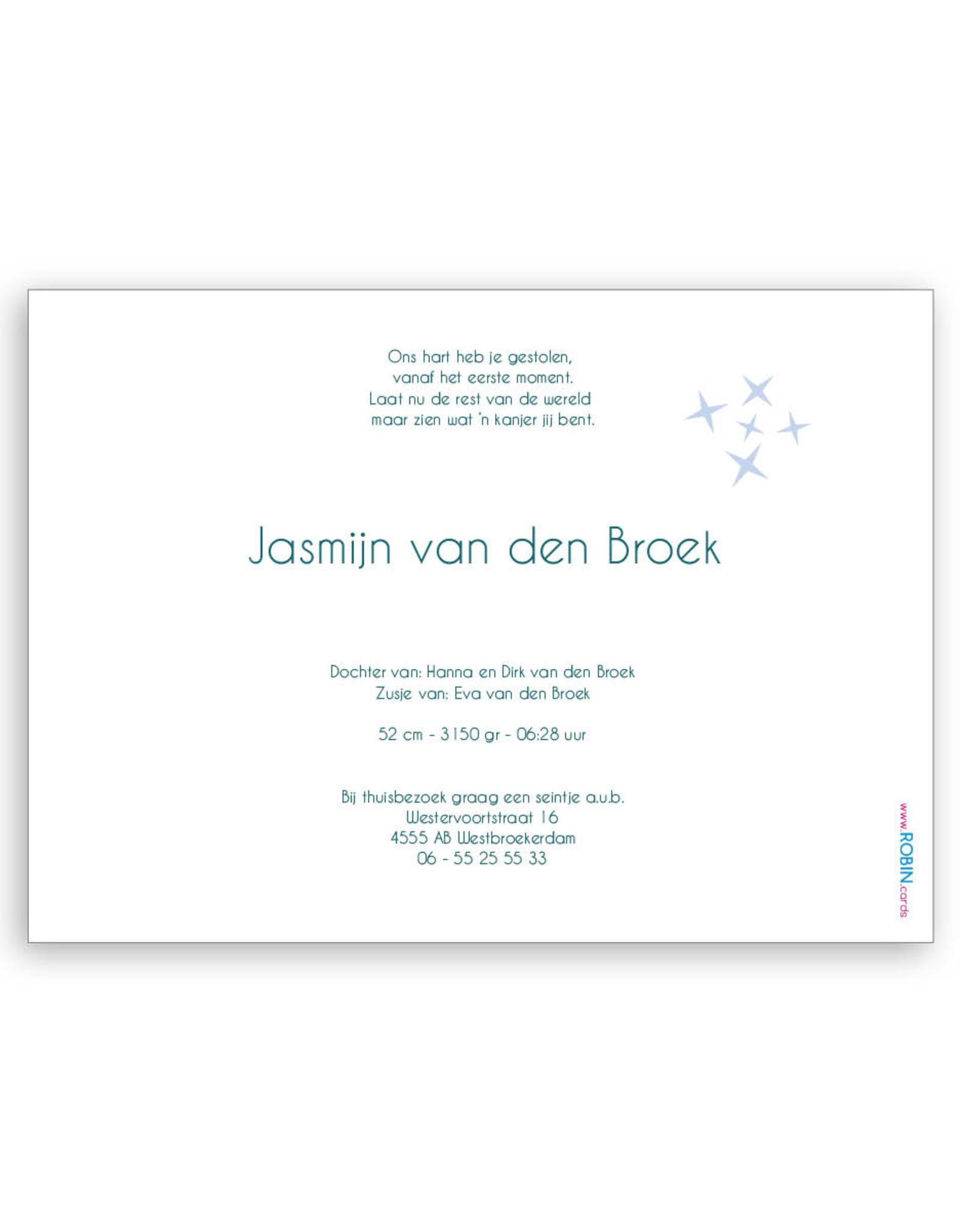 www.Robin.cards Geboortekaartje gratis enkel rechthoek JASMIJN