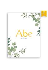 www.Robin.cards Geboortekaartje foliedruk enkel rechthoek ABE