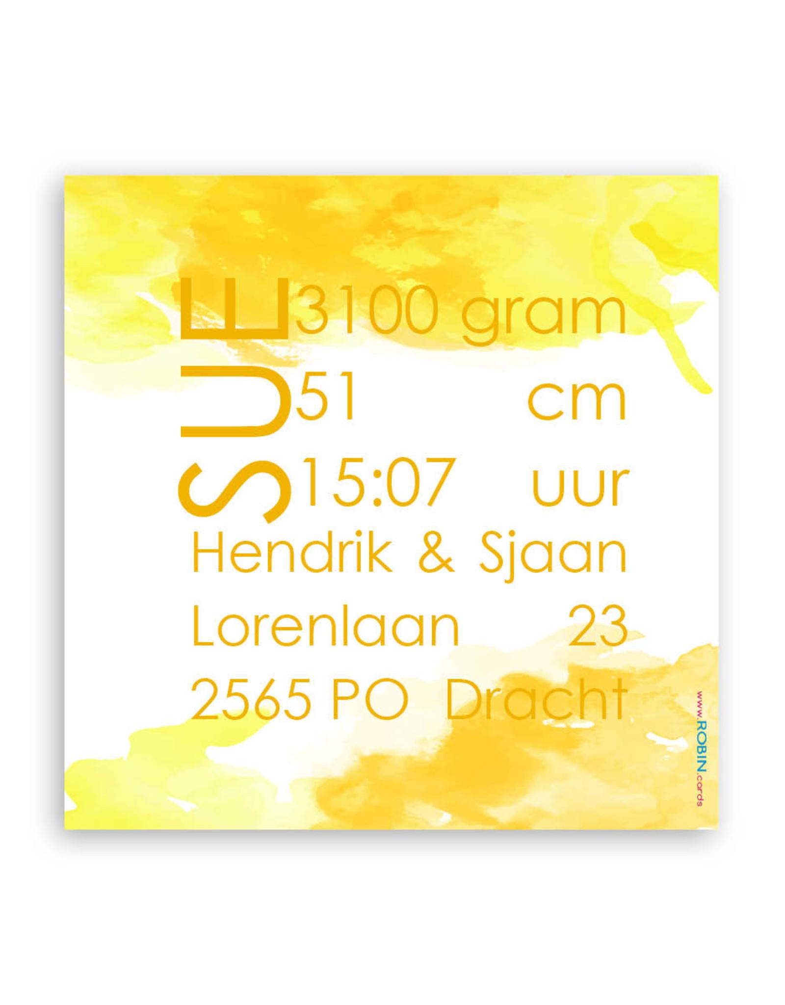www.Robin.cards Geboortekaartje gratis enkel vierkant SUE