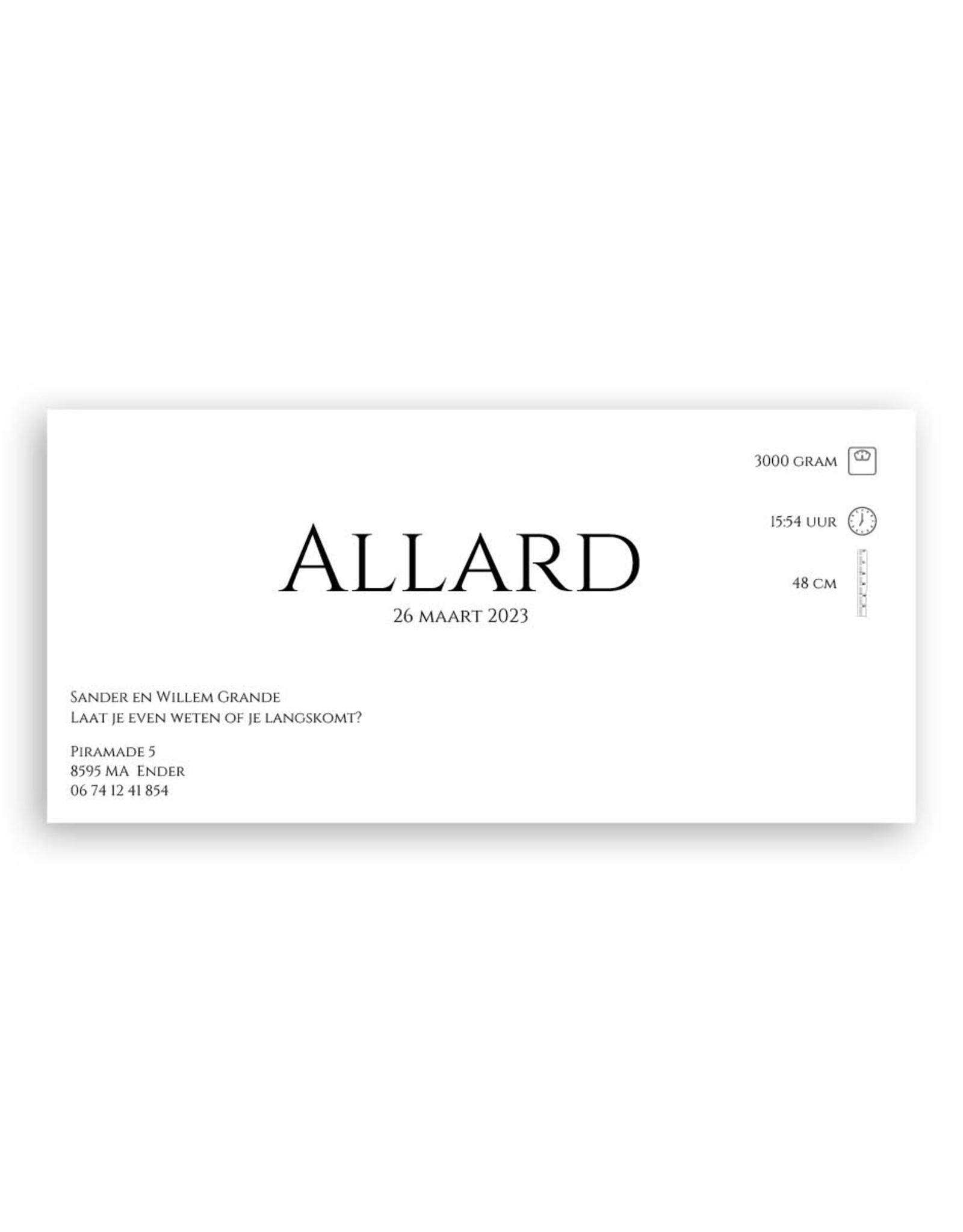 www.Robin.cards Geboortekaartje premium enkel lang ALLARD