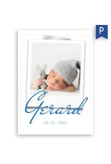 www.Robin.cards Geboortekaartje premium enkel rechthoek GERARD
