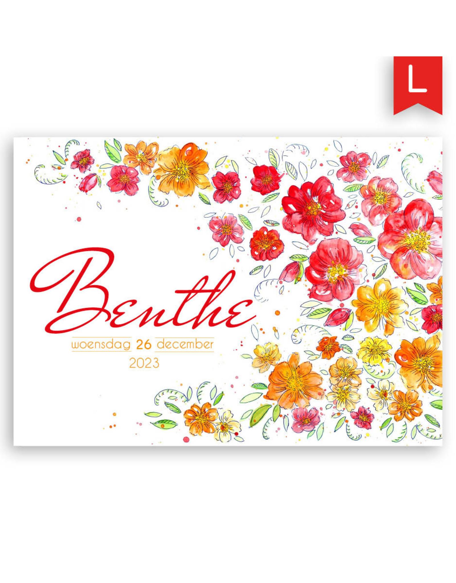 www.Robin.cards Geboortekaartje luxe enkel rechthoek BENTHE