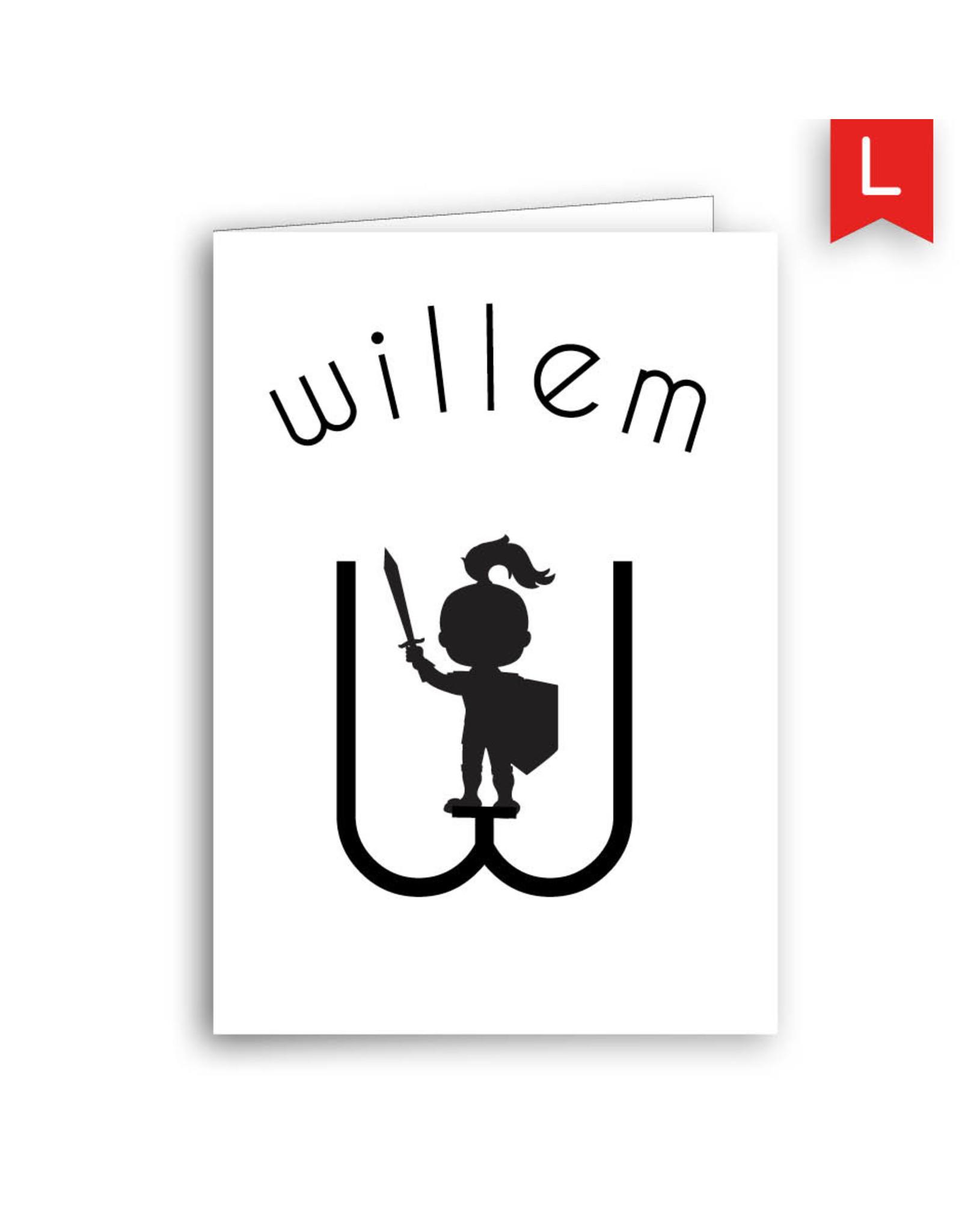 www.Robin.cards Geboortekaartje luxe rechthoek gevouwen WILLEM