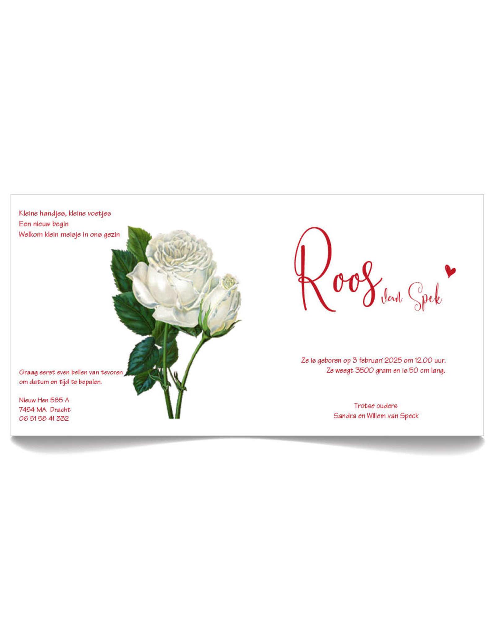 www.Robin.cards Geboortekaartje gratis gevouwen vierkantROOS
