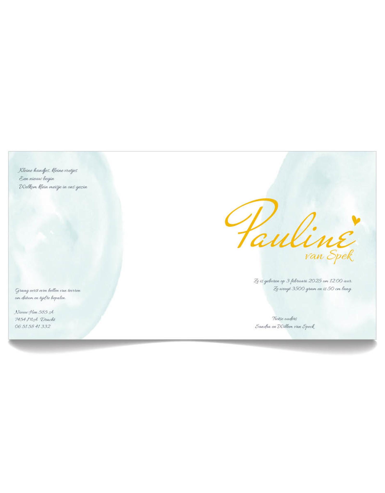 www.Robin.cards Geboortekaartje foliedruk gevouwen vierkant PAULINE