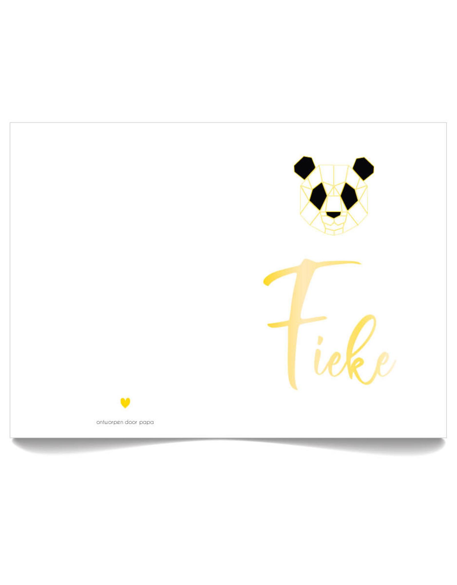www.Robin.cards Geboortekaartje foliedruk gevouwen rechthoek FIEKE