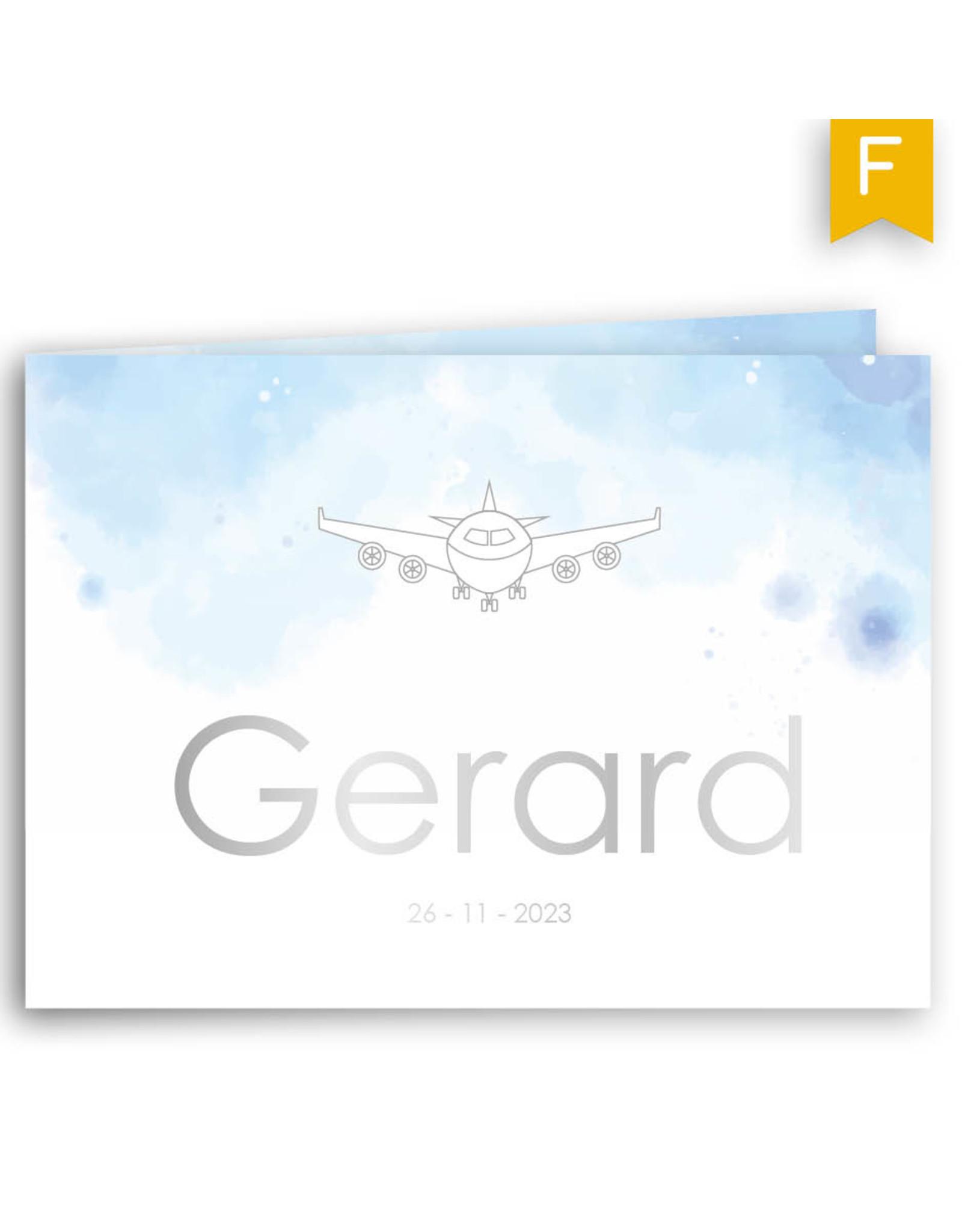 www.Robin.cards Geboortekaartje foliedruk gevouwen rechthoek GERARD