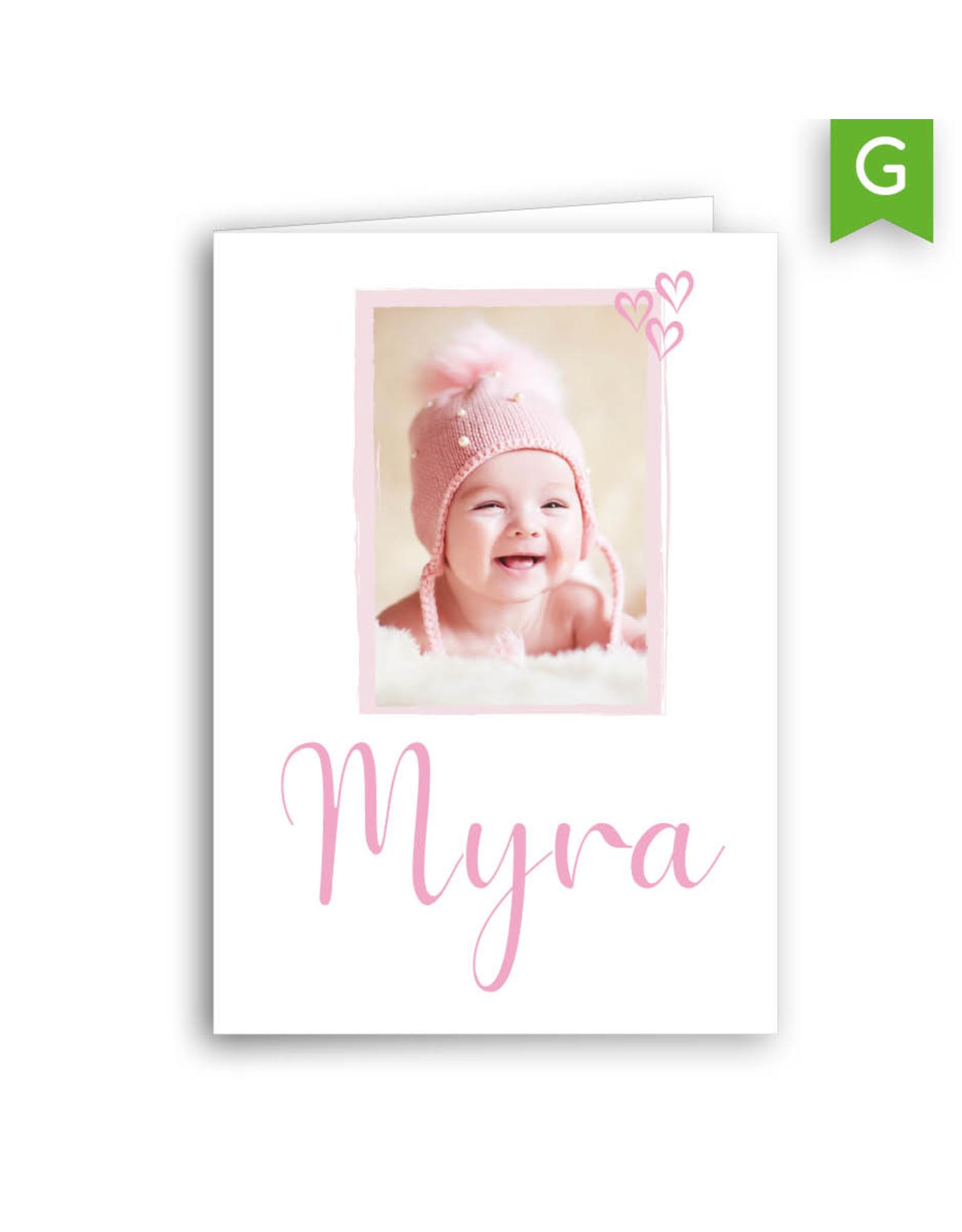 www.Robin.cards Geboortekaartje gratis gevouwen rechthoek MYRA