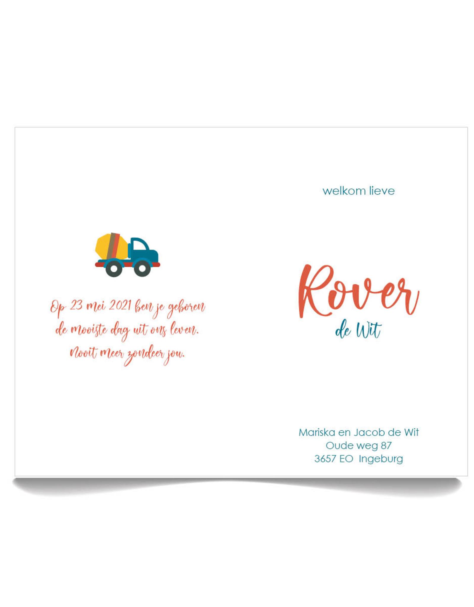 www.Robin.cards Geboortekaartje Oud Hollands gevouwen ROVER