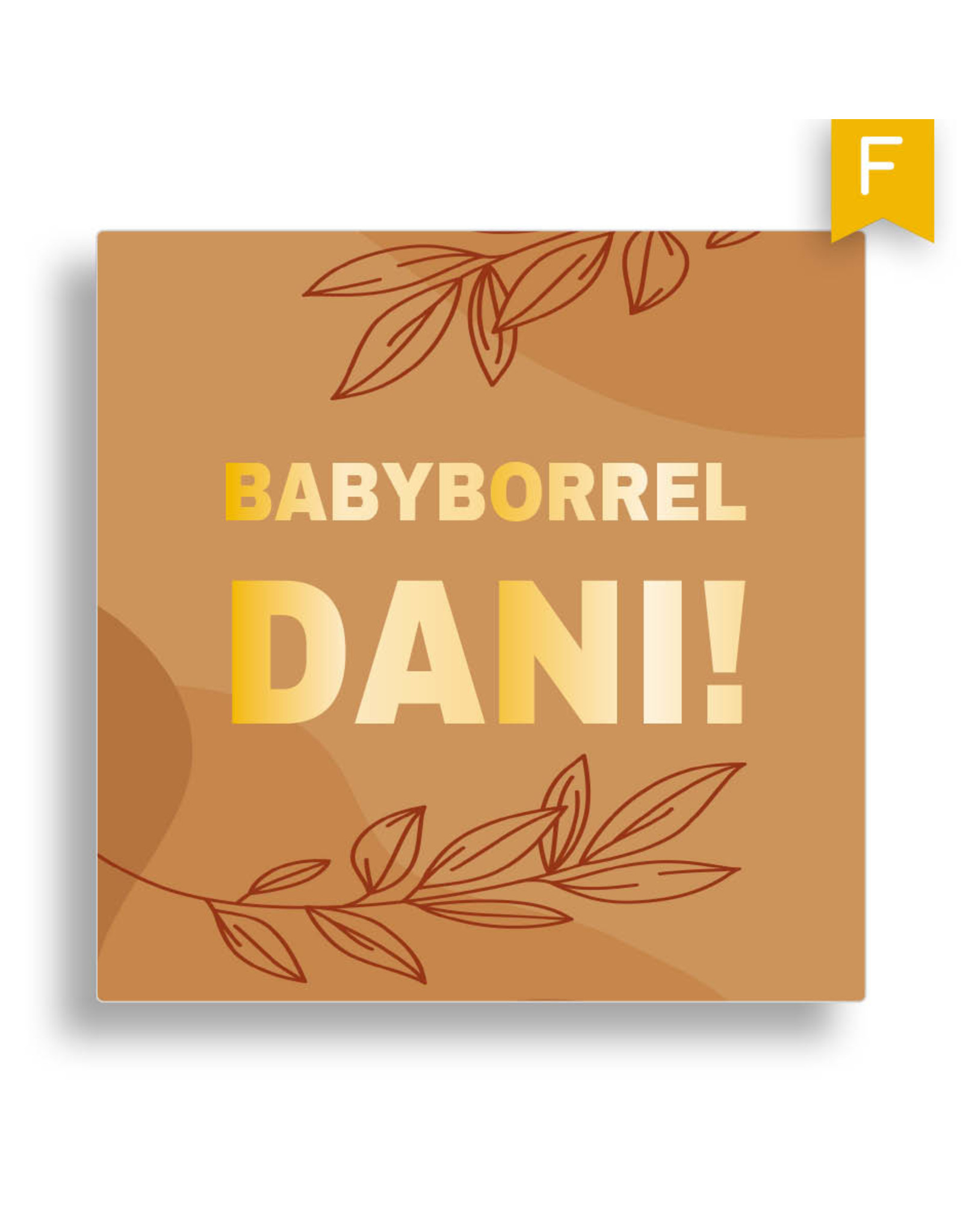 www.Robin.cards Babyborrel foliedruk vierkant DANI