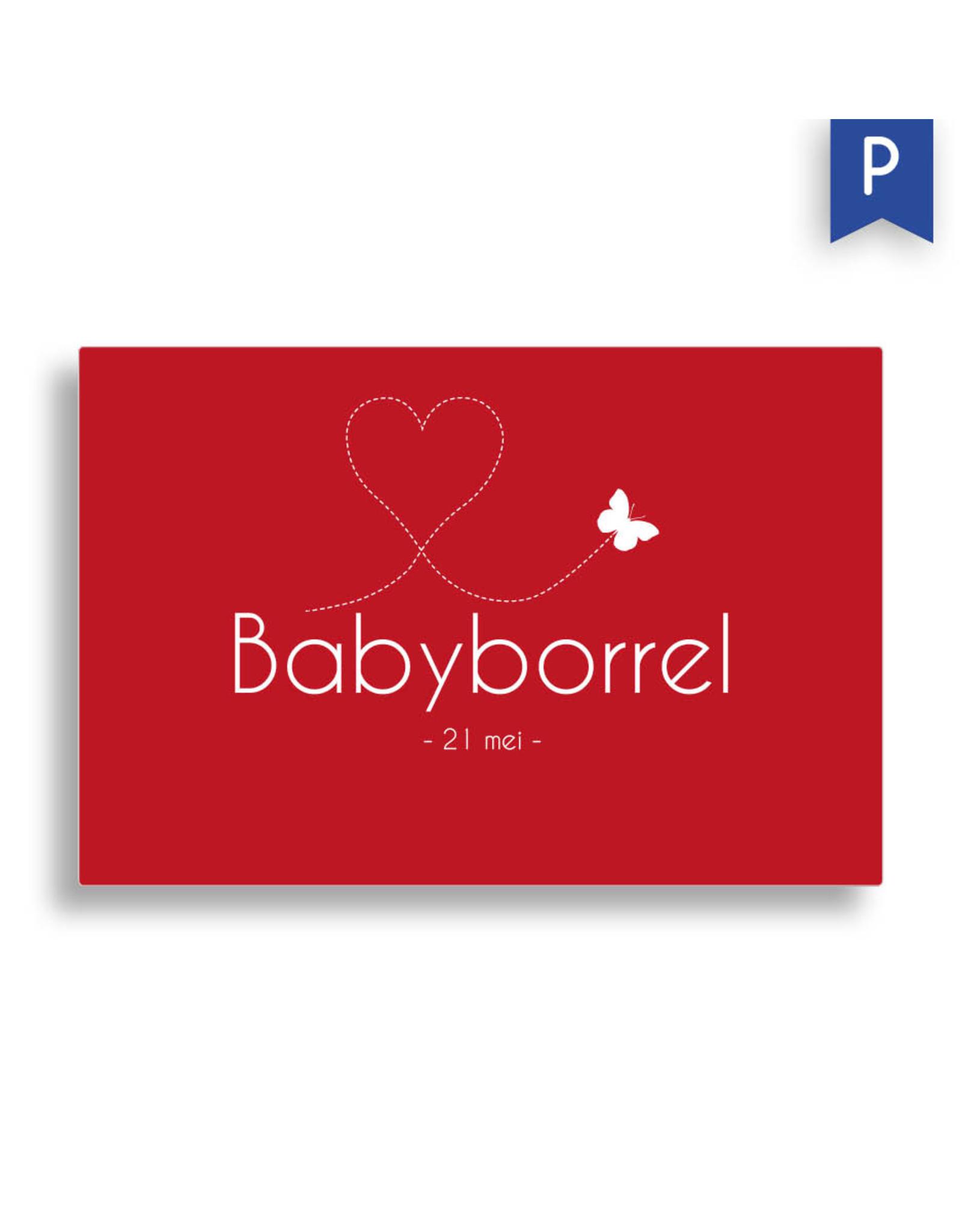 www.Robin.cards Babyborrel enkel rechthoek ROBIN