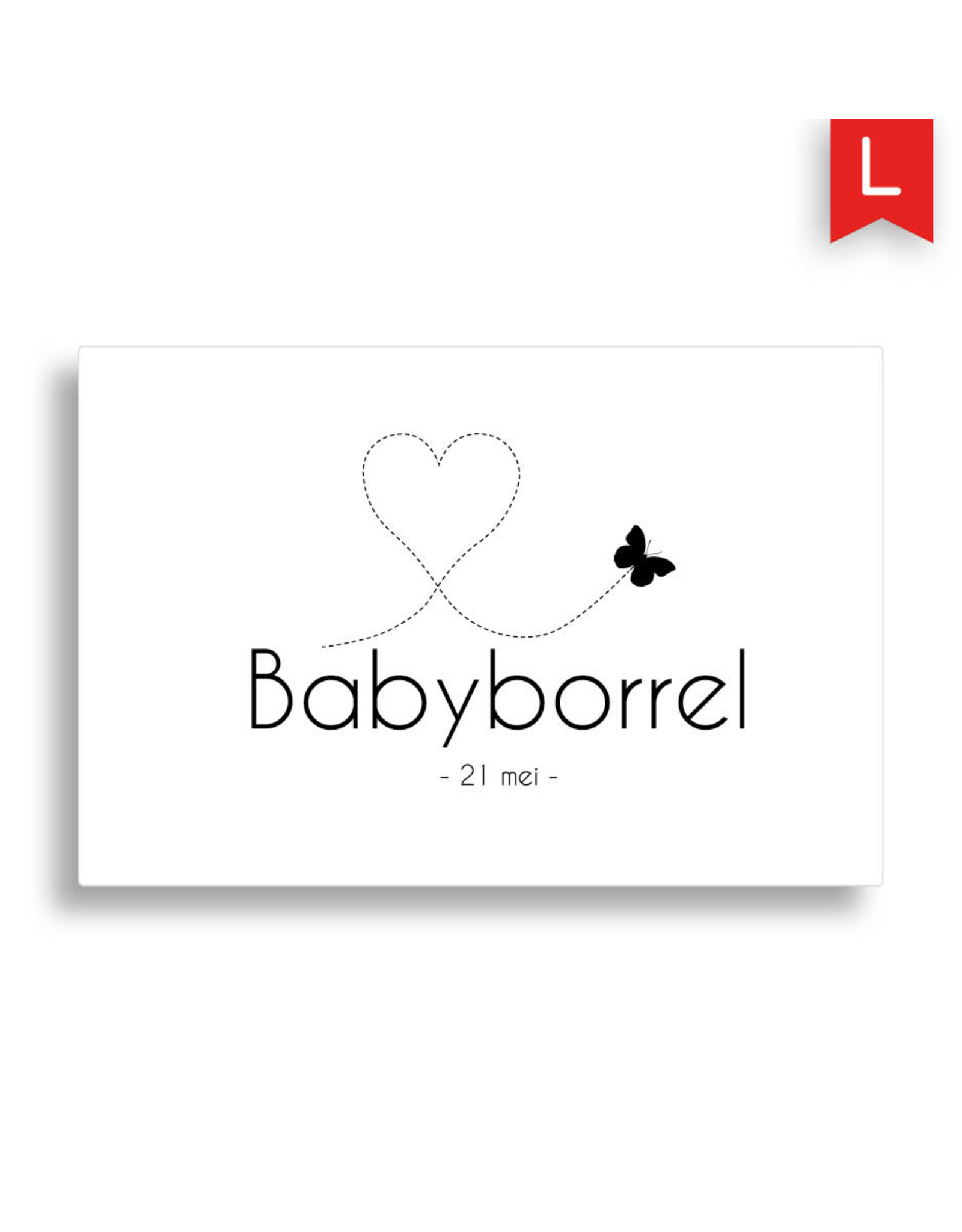 www.Robin.cards Babyborrel enkel rechthoek TOMMIE