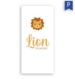 www.Robin.cards Geboortekaartje premium enkel lang LION