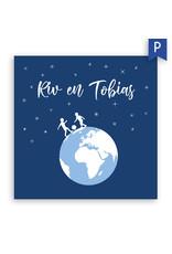 www.Robin.cards Geboortekaartje premium enkel vierkant  RIV en TOBIAS