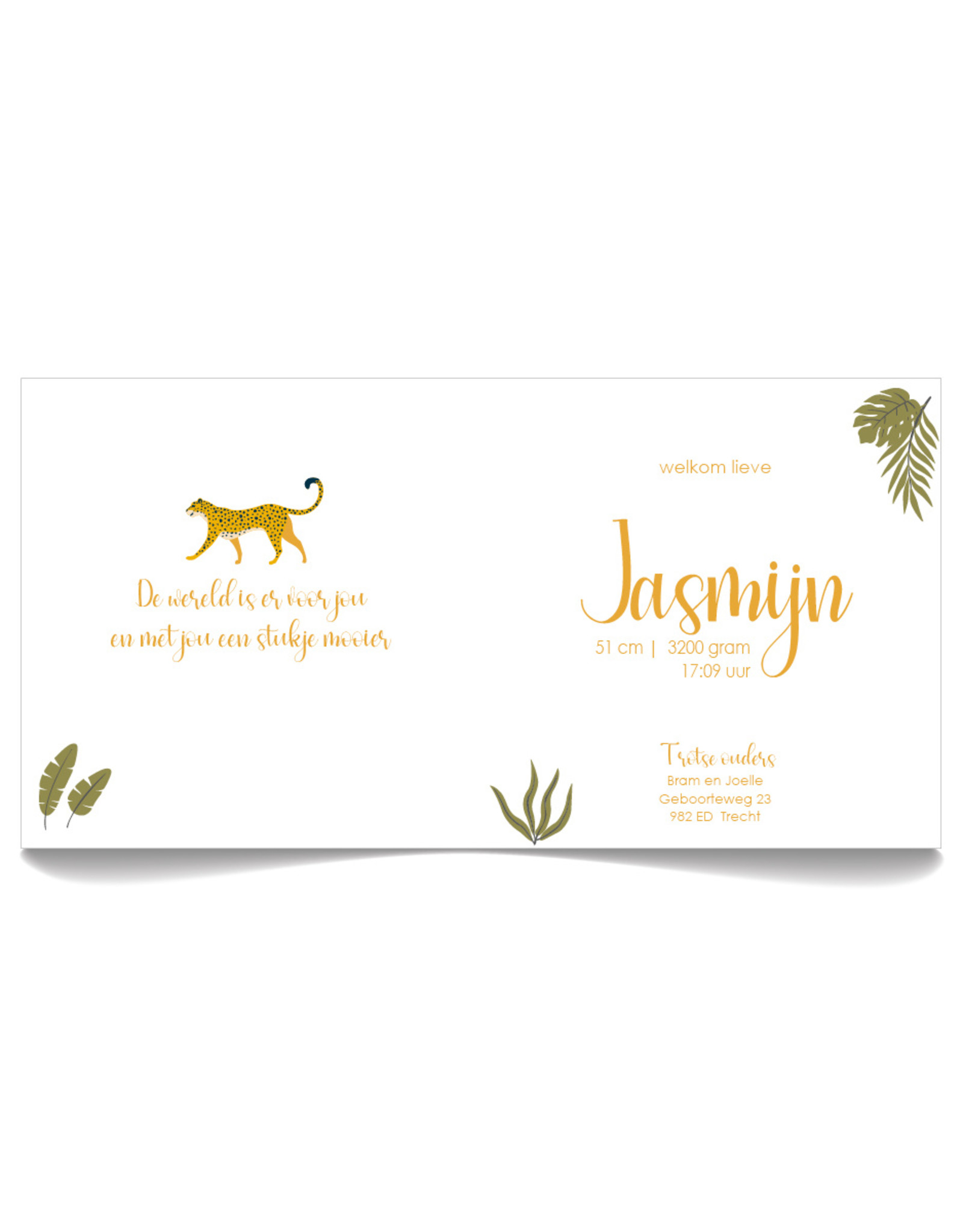 www.Robin.cards Geboortekaartje luxe vierkant gevouwen JASMIJN