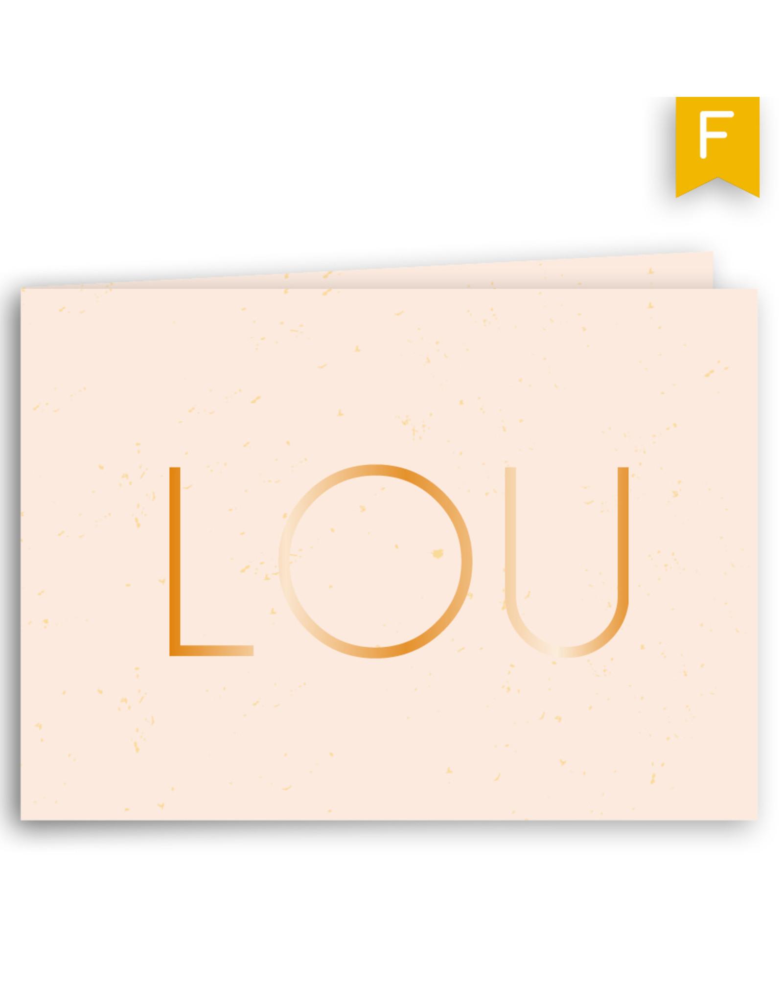 www.Robin.cards Geboortekaartje foliedruk gevouwen rechthoek LOU
