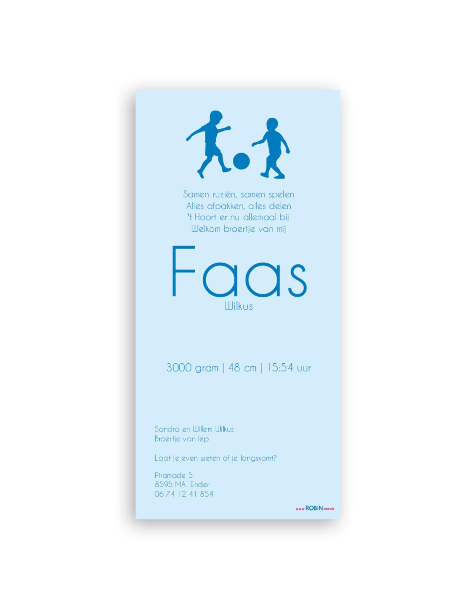 www.Robin.cards Geboortekaartje gratis enkel lang FAAS