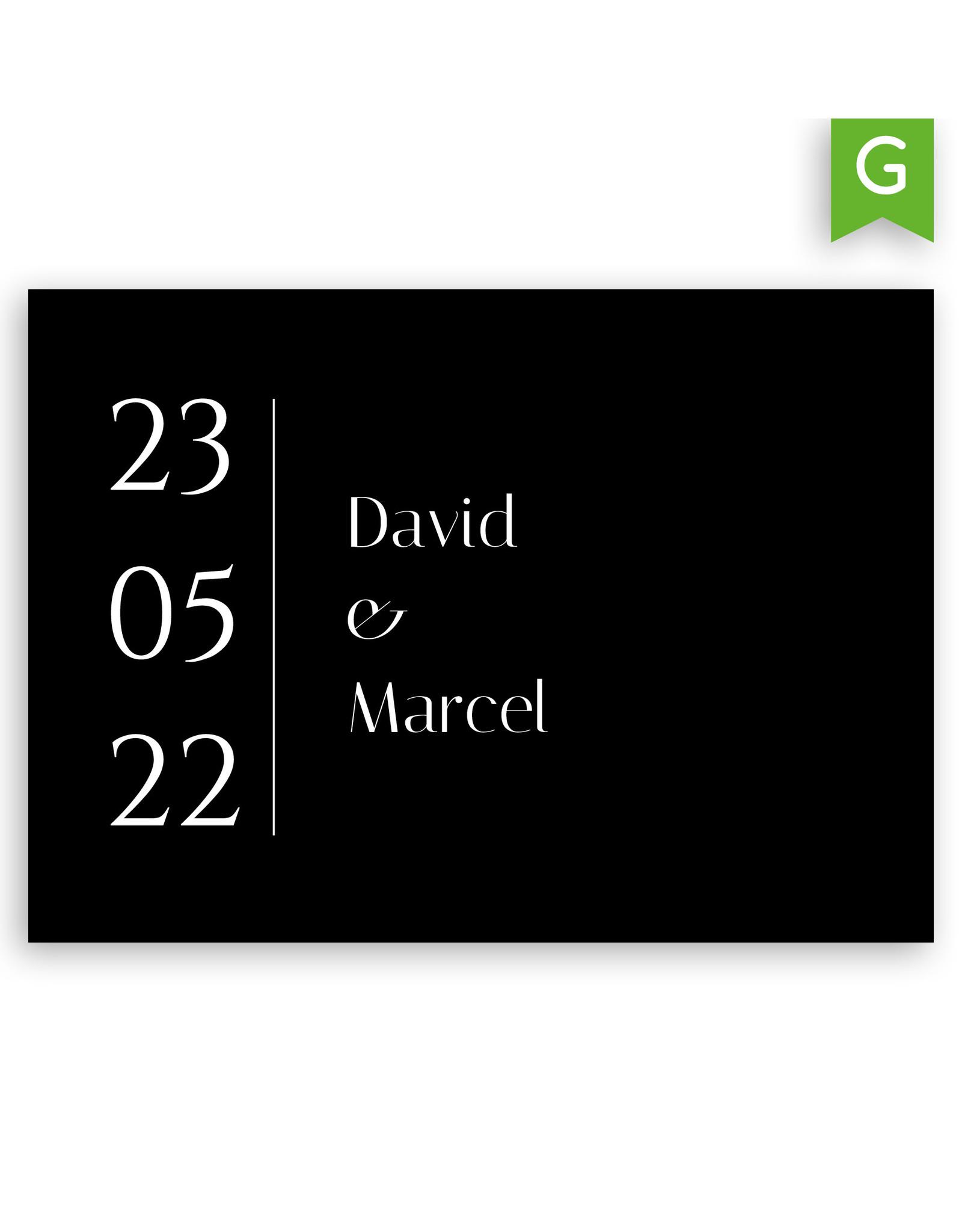 www.Robin.cards Trouwkaarten gratis enkel rechthoek DAVID en MARCEL