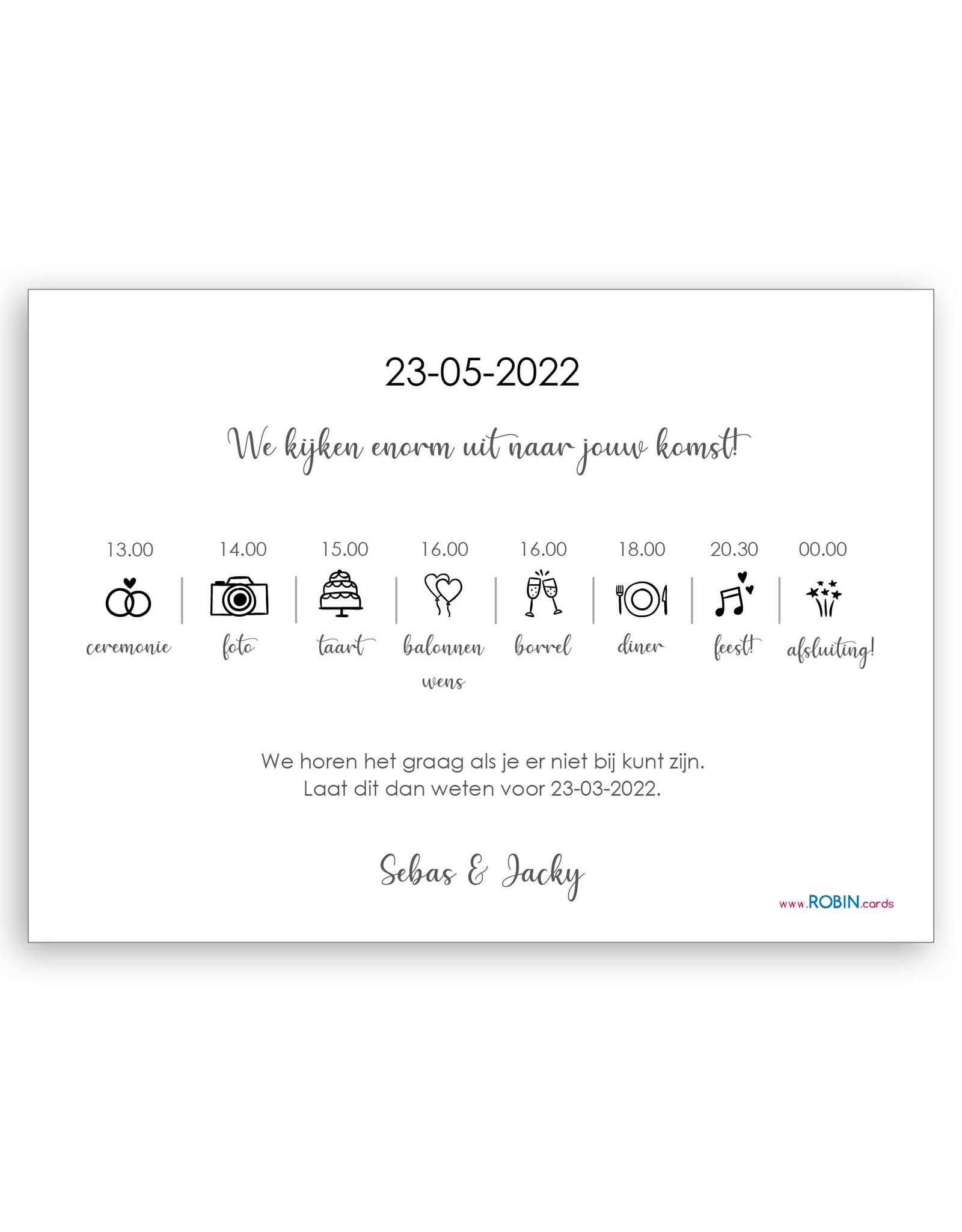 www.Robin.cards Trouwkaarten gratis enkel rechthoek SEBAS en JACKY