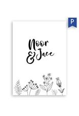 www.Robin.cards Trouwkaarten premium enkel rechthoek Noor en Jace