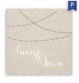www.Robin.cards Trouwkaarten premium enkel vierkant Guusje en Jason