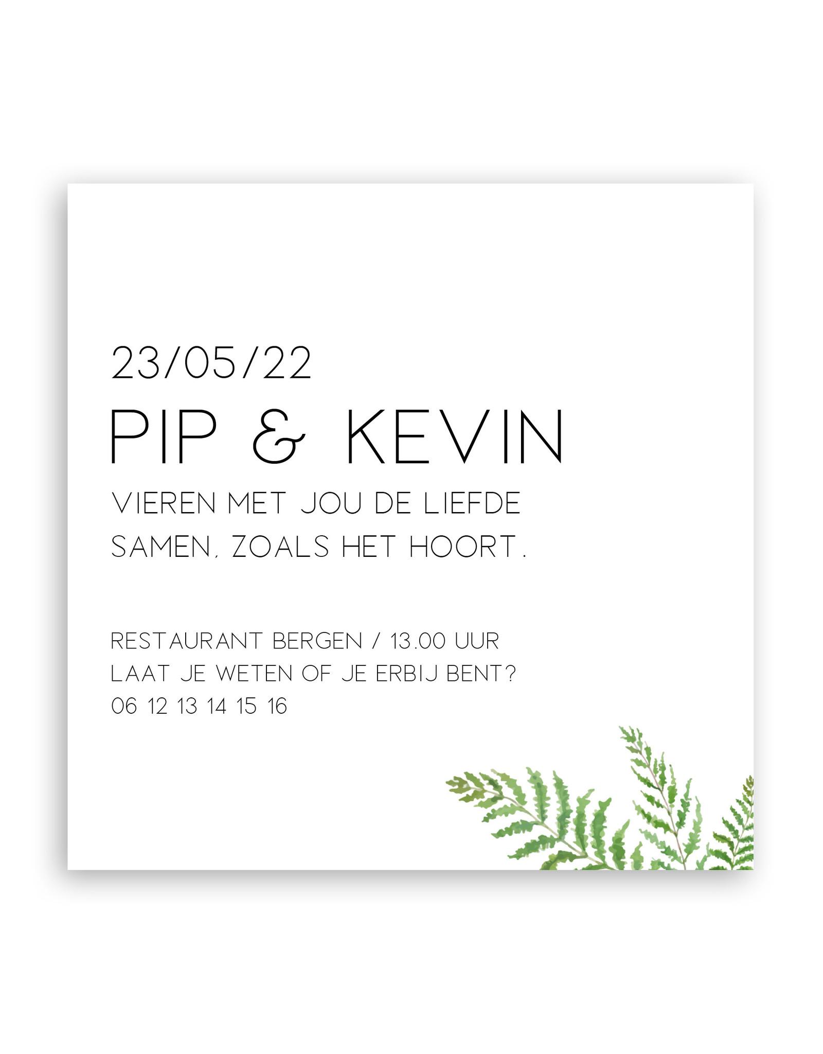 www.Robin.cards Trouwkaarten premium enkel vierkant Pip en Kevin