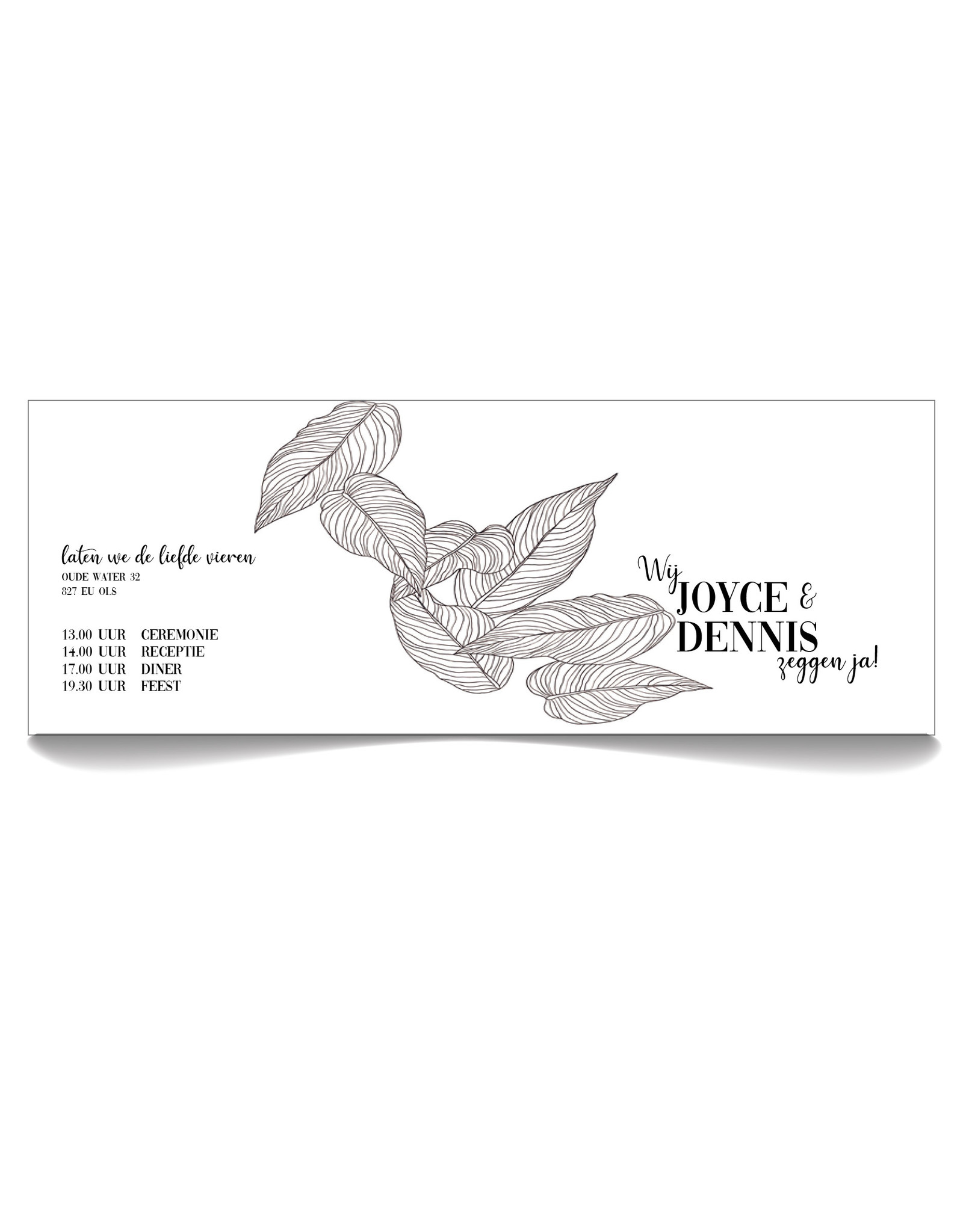 www.Robin.cards Trouwkaarten premium gevouwen rechthoek Joyce en Dennis